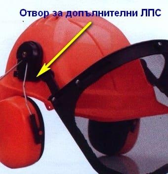 Каска - отвори за монтаж на ЛПС